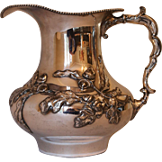 Silver Plate Water Jug with Repousse Oak Decoration