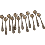 Set of 12 Sterling Silver Repousse Salt Spoons