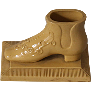 Antique Yellow Ware Match Holder Striker Shoe
