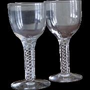 Pair of Antique Air Twist Goblets Wine Glasses