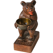 Antique Black Forest Bear Match Holder Striker