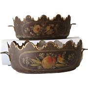 Pair of Antique French Tole Monteith Planters with Birds and Fruit