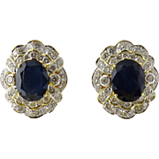 SALE Vintage 18K Yellow Gold Blue Sapphire and Diamond Earrings Large Pierced