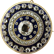 SALE Antique 14K Yellow Gold Georgian Rose Cut Diamonds and Blue Enamel Brooch Pendant Circula
