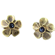 SALE Vintage 14K Yellow Gold and Sapphire Floral Earrings Pierced