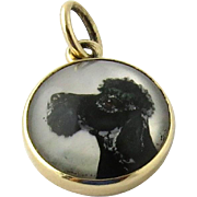 SALE 14K Yellow Gold Intaglio Terrier Dog Pendant
