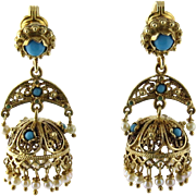 SALE Vintage 14K Yellow Gold Persian Turquoise and Pearl Ornate Drop Earrings