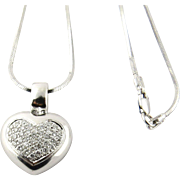 "SALE Vintage 18K White Gold Diamond Heart Pendant Necklace Snake Chain 17"" .40cts"