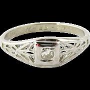 SALE 1929 Vintage 18K White Gold Diamond Filigree Ring Size 3.25