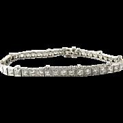 Antique Platinum Diamond Tennis Bracelet 4.4 cts Safety Chain