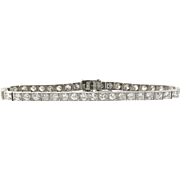 SALE Vintage Platinum Diamond Tennis Bracelet 6.15 cts