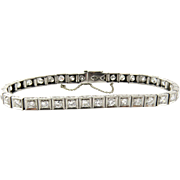 SALE Antique Platinum and Diamond Tennis Bracelet Old Miner 4.2 cts