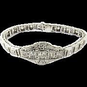 "SALE Vintage Art Deco Filagree 14K White Gold Diamond bracelet 7"""