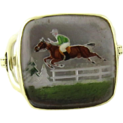 14K Yellow Gold Intaglio Racing Horse Stirrups Ring Size 3.5