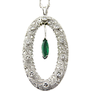 Vintage 14K White Gold Diamond and Emerald Filagree Open Oval Pendant Necklace