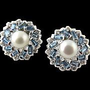 Vintage 18K White Gold Pearl Aquamarine and Diamond Round Snowflake Earrings Pierced