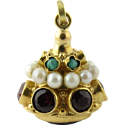 Vintage 18K Yellow Gold Pendant With Amethyst, Garnets, Pearls and Turquoise Stones