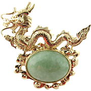 Sanuk 14K Yellow Gold and Jade Dragon Pin Brooch