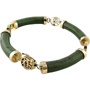 Vintage 14K Gold and Jade Link Bracelet