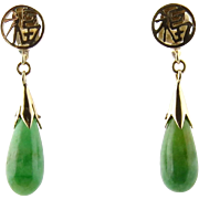 Vintage 14K Yellow Gold and Tear Drop Jade Earrings Pierced