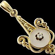 SALE Vintage 10K Yellow Gold and Diamond Pendant
