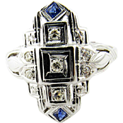 SALE Art Deco 18K White Gold Diamond Sapphire Ring Size 6.75