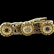 "SALE Vintage 14K Yellow Gold Diamond and Sapphire Tie Clip 1 3/16"""