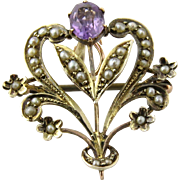 Vintage 9K Yellow Gold Amethyst and Pearl Pin Brooch Pendant