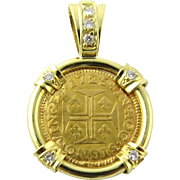 Portuguese 400 Reis Coin 1725 Diamond 18K Yellow Gold Pendant