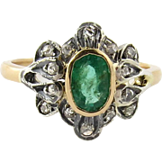 SALE Victorian Rose Cut Diamond Genuine Emerald 18K Yellow Gold Ring Size 8.5