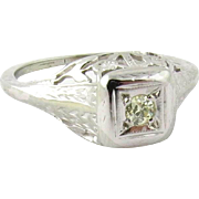 SALE Art Deco 18K White Gold Diamond Filagree Engagement Ring Size 3.25 .07ct