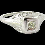 SALE Art Deco 18K White Gold Diamond Filagree Engagement Ring Size 3.25 .07ct