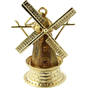 SALE 14K Yellow Gold Movable Windmill Charm with Beautiful Detail