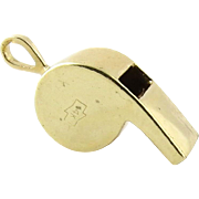 SALE 14K Yellow Gold Working Whistle Charm - Loud Whistle!