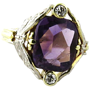 SALE Vintage 14K Yellow and White Gold Amethyst and Old Mine Butterfly Diamond Ring Size 5.5
