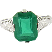 14K White Gold and Synthetic Emerald Filigree Ring Size 4.5