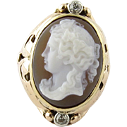 SALE Antique 14K Yellow Gold and Old Mine Diamond Cameo Ring Size 5.5