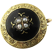 SALE Antique Georgian 14K Yellow Gold Black Enamel and Pearl Brooch Pin with Gold Leaf ...