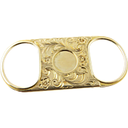 Antique 14K Yellow Gold Hand Engraved Cigar Cutter with Ornate Hand Engraving 1902
