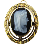 Antique 14K Yellow Gold Sardonyx Cameo Madonna Pin/Pendant circa 1915