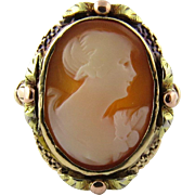 SALE Antique 10K Yellow and Rose Gold Cameo Ring Size 7.5