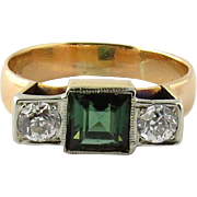 Antique 14K Yellow Gold Green Tourmaline and Old Mine Diamond Ring Size 7.75