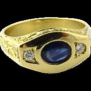 SALE Vintage 18K Yellow Gold Art Deco Style Genuine Oval Sapphire and Diamond Men's ...