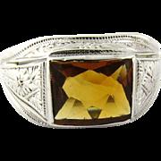 SALE Vintage 10K White Gold Topaz Men's Ring Size 9.75