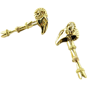 Pair of 18K Yellow Gold Ram's Head Cufflinks