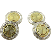 Art Deco 14K White and Gold Two Toned Engine Turned Cufflinks