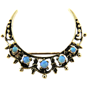 Vintage 14K Yellow Gold Crescent Moon Opal Pin Brooch