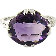 SALE 18K White Gold Antique Genuine Amethyst Ring Size 6.25
