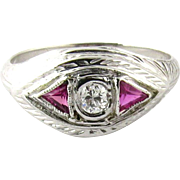 Antique 18K White Gold Diamond Ruby Ring Size 5.75