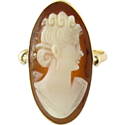 SALE Vintage 14K Yellow Gold Oval Cameo Ring Size 4